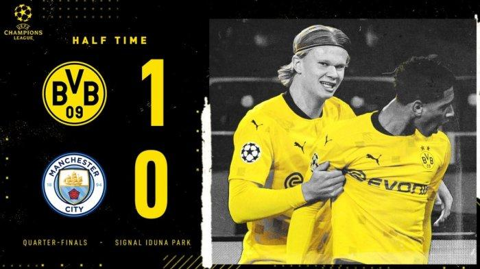 Babak Pertama Dortmund vs Manchester City 1-0 Gol Kerjama Haaland, Dahoud, Bellingham, City Terancam