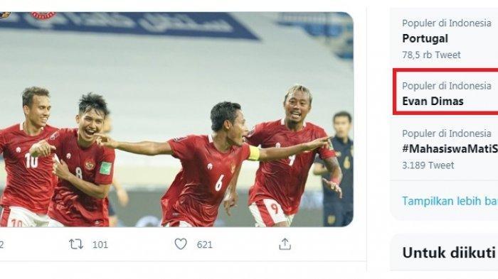 Timnas Indonesia Digunduli UEA 5-0, Evan Dimas Trending dan Dibully karena Gagal Cetak Gol Penalti