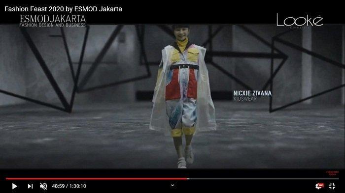 Tangkapan layar - Koleksi fesyen desainer Nicxie Zivana yang diperagakan pada fashion show virtual bertajuk Fashion Feast 2020 yang diselenggarakan ESMOD Jakarta, Sabtu (28/11/2020). Koleksi ini masuk spesialisasi Kidswear.