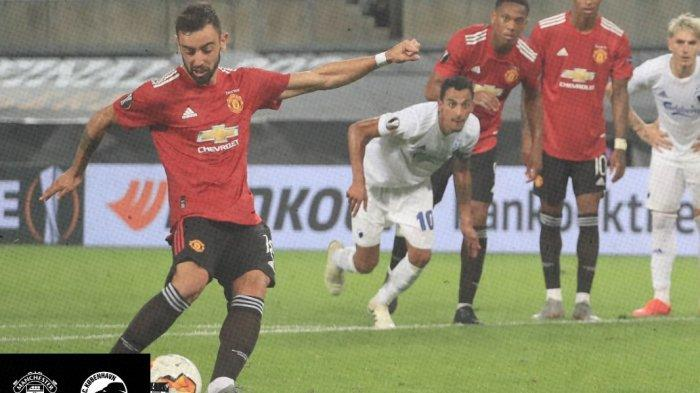 Bruno Fernandes saat menjadi algojo penalti dan cetak gol. MU Lolos ke babak semifinal setelah kalahkan Copenhagen 2-1.