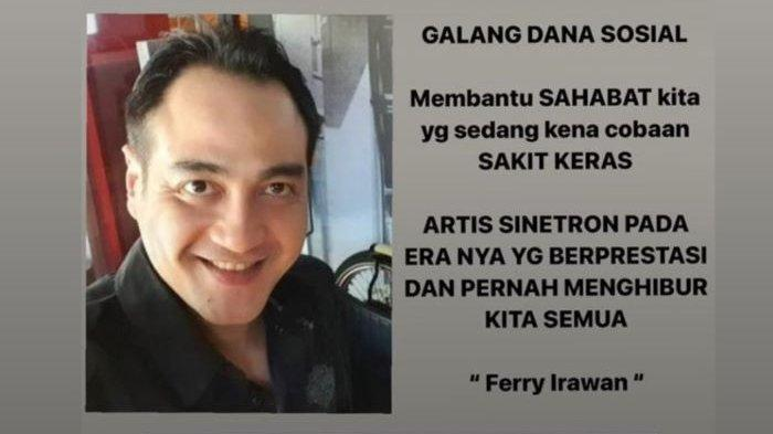 Bintang sinetron Ferry Irawan sedang terbaring lemah di Rumah Sakit Pusat Otak Nasional, Cawang, Jakarta Timur, seperti kabar yang disampaikan Garneta Haruni, Selasa (29/6/2021).