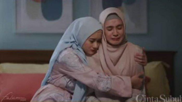 Dinda Hauw saat berakting di film Cinta Subuh. Rumah produksi Falcon Pictures merilis first look film Cinta Subuh, Minggu (11/4/2021).