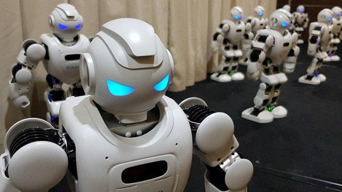 Flash Mob Robot Rakitan AiCI dalam Pembukaan Pelatihan Vokasi Kecerdasan Buatan untuk Guru SMK Negeri Nasional, di kantor AICI di Gedung Lab Riset Multidisplin FMIPA UI – Pertamina, kampus Universitas Indonesia, Kota Depok, Senin (28/9/2020).