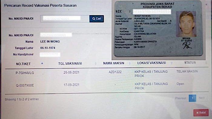 Warga Kabupaten Bekasi, Jawa Barat gagal mengikuti vaksinasi karena nomor induk kependudukan atau NIK KTP Elektronik dipakai warga negara asiang (WNA).