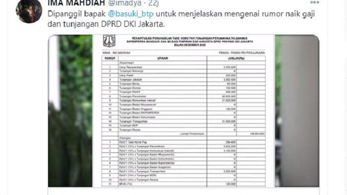 Anggota DPRD DKI Jakarta Ima Mahdiah akhirnya membeberkan gaji dan tunjangan nanggota dewan kepada Basuki Tjahaja Purnama alias Ahok. Ahok terkaget-kaget begitu melihat daftar gaji dan tunjangan tersebut.
