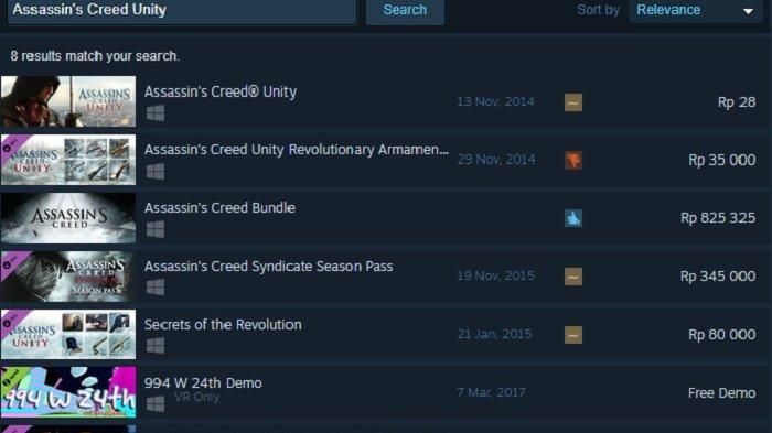 Steam Buka Harga Game Assasins Creed Unity Cuma Rp 28 Perak Halaman All Warta Kota