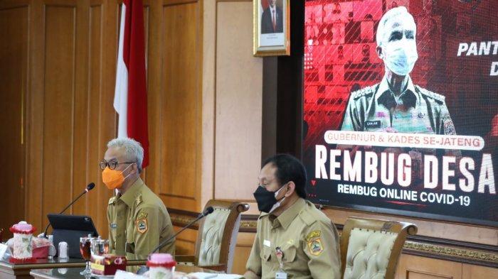 Gubernur Ganjar melaksanakan rembugan online perdana dengan para Lurah/Kades se-Banjarnegara, Senin (19/7/2021). Rembug Desa itu akan dilaksanakan secara bergilir tiap kabupaten.