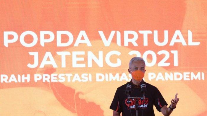 Gubernur Jawa Tengah Ganjar Pranowo memberikan sambutan saat membuka Pekan Olahraga Pelajar Daerah (Popda) Jawa Tengah 2021 di Hotel Patrajasa Semarang, Rabu (7/4/2021).