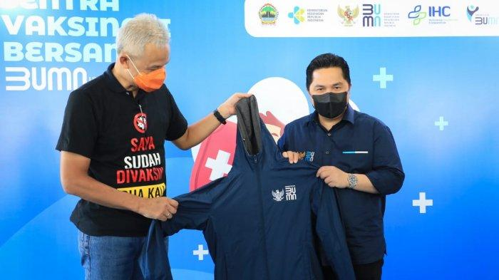 Ganjar Dampingi Menteri BUMN Erick Thohir Cek Sentra Vaksinasi di Komplek PRPP Jawa Tengah