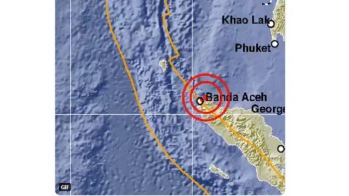 BMKG menginformasikan telah terjadi gempa bumi di Banda Aceh, Sabtu (14/11/2020), sekitar 01.33.08.