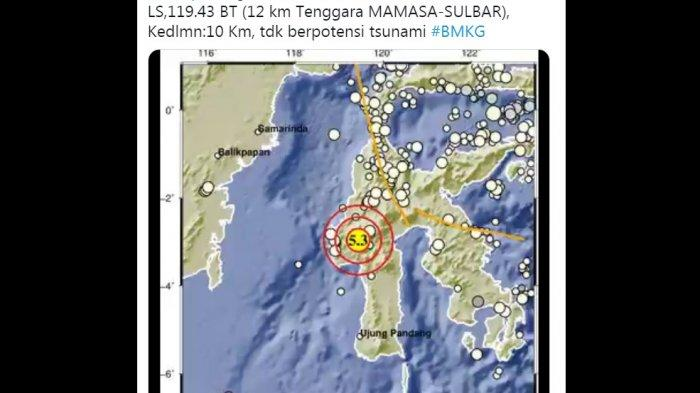 Gempa Magnituro 5.3 Pagi Ini di Mamasa Sulbar, Warga Terbangun, Netizen Sebut Getaran Sampai Toraja