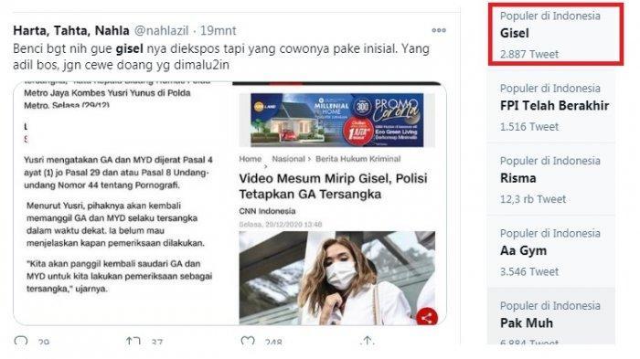 Jadi Tersangka, Gisel Langsung Trending Twitter, Mengapa Pemeran Pria Pakai Inisial Gisel Tidak?