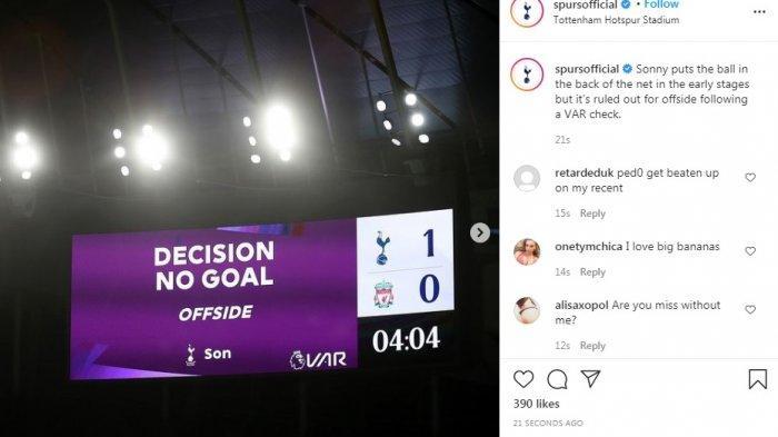 Sedang Berlangsung Tottenham vs Liverpool, Gol Cepat Son Heung-min Dianulir, Papan Skor Kembali 0-0
