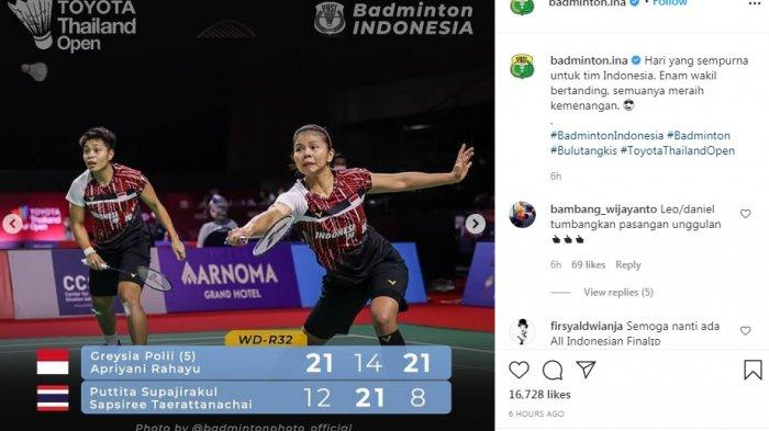 Tiga Tim Bulu Tangkis Indonesia Dipastikan Tampil pada Babak Delapan Besar Toyota Thailand Open 2021