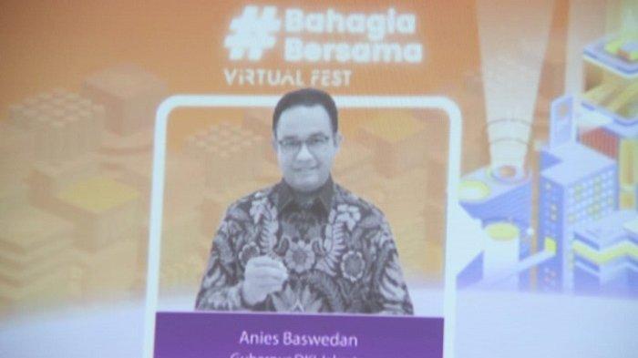 Gubernur DKI Jakarta Anies Baswedan raih penghargaan Happines Award yang sekaligus terpilih menjadi Tokoh Pemberdayaan 2020, pada Kamis (25/2/2021).