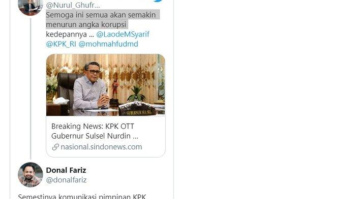 Cuitan pimpinan KPK terkait Gubernur Sulsel Nurdin Abdullah ditangkap KPK diduga korupsi langsung dikritik aktivis antikorupsi Donald Fariz.