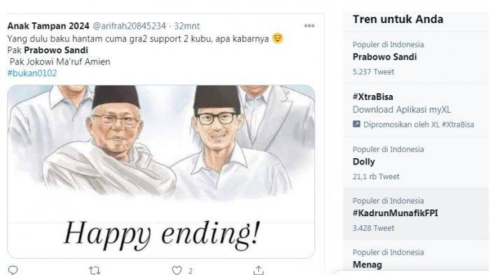 Pilpres 2019 berakhir happy ending, begitu yang jadi perbincangan setelah masuknya Sandiaga menjadi Menteri Pariwisata, sebelumnya Prabowo Menhan.