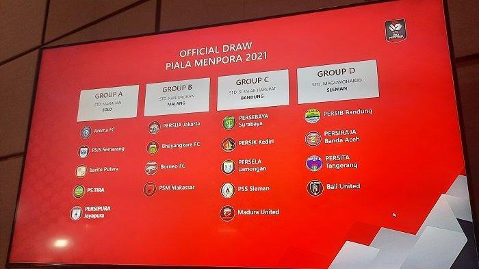 Hasil drawing Piala Menpora 2021 yang digelar 21 Maret sampai 25 April 2021.