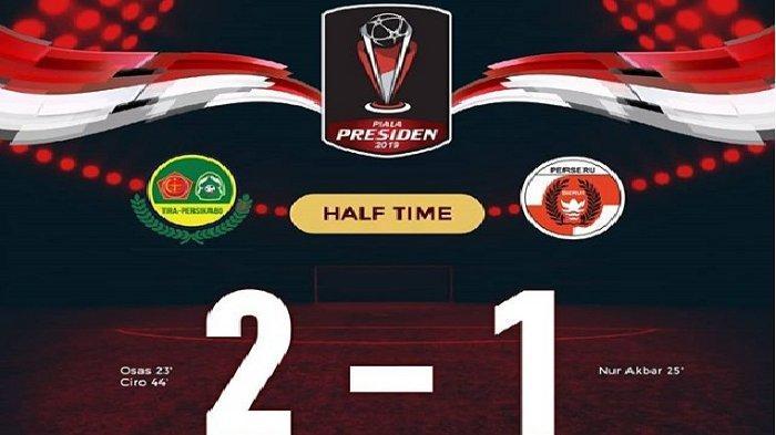 Update Pertandingan Babak Pertama PS Tira Persikabo Vs Perseru Serui, PS Tira Unggul 2-1