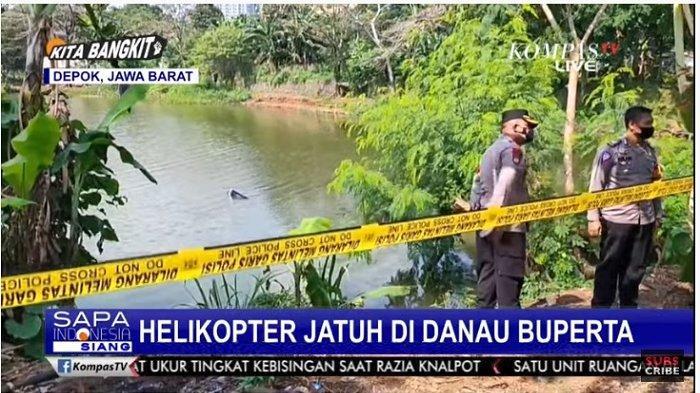 BREAKING NEWS: Helikopter Terjun dan Jatuh ke Danau Buperta Cibubur, Ada Dua Penumpang