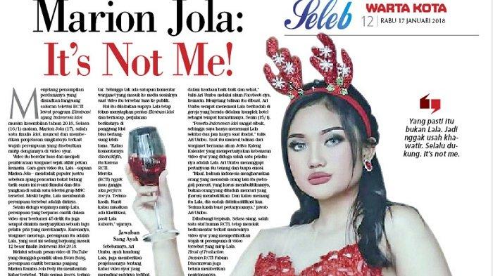 Terkait Video Syur, Marion Jola:  It's Not Me!