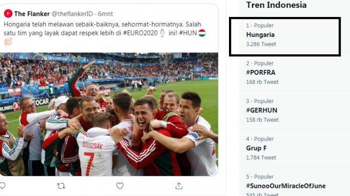 Hungaria atau Hongaria ejaan Indonesia trending topic meski tersingkir dari Grup neraka Grup F. Dalam laga terakhir lawan Jerman, Hongaria sempat unggul 1-0, terus 2-1 atas Jerman. Namun hasil akhir 2-2 membuat Jerman yang lolos, Hungaria tersingkir.