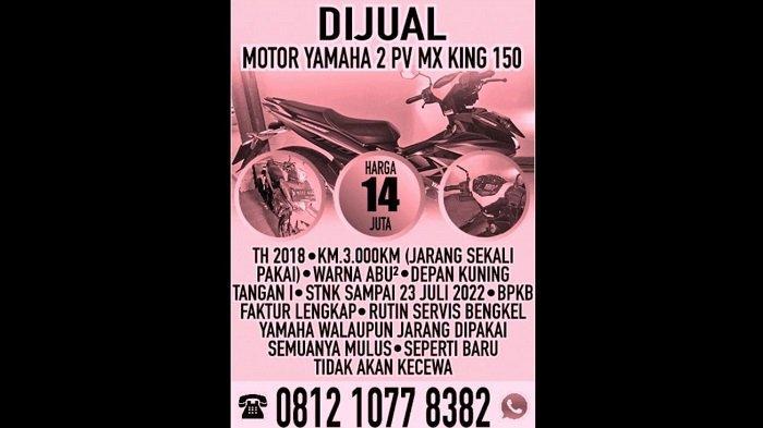 Jual Motor Yamaha 2 PV MX King 150, Iklan Baris Online, Selasa, 27 Juli 2021