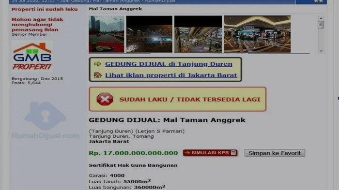 Viral Iklan Mal Terbesar di ASEAN Dijual Rp17 Triliun, Pihak Taman Anggrek Bungkam