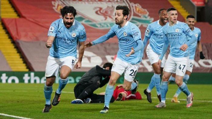 Ilkay Gundongan tampil impresif dan mencetak dua gol ke gawang Liverpool yang dijaga Allison Becker