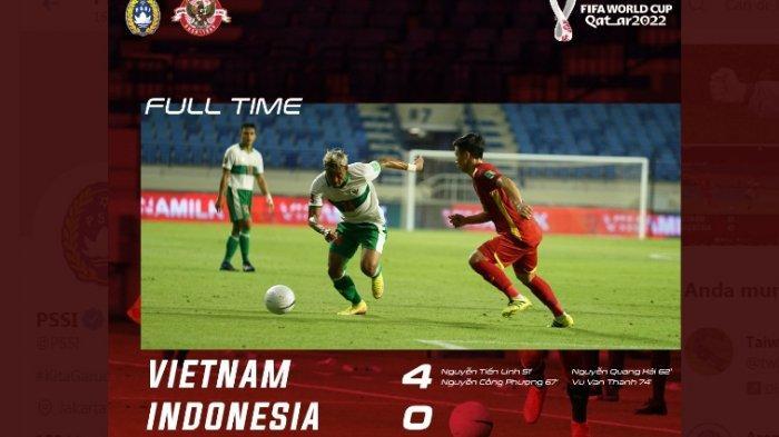 Gagal Menjaga Tren Positif, Timnas Indonesia Kalah dari Timnas Vietnam dengan Skor Sangat Telak 0-4
