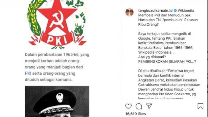 Heboh Soeharto Dituduh PKI, Tengku Zulkarnain Minta Kapolri Tangkap Penulis Wikipedia