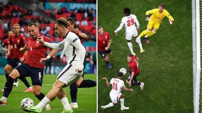 Umpan lambung Jack Grealish yang berhasil dimanfaatkan Raheem Sterling menjadi gol. Republik Ceska vs Inggris 0-1.