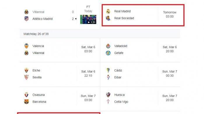 Jadwal Liga Spanyol hari ini dan Minggu depan. Hari ini hanya partai Real Madrid vs Real Sociedad, pekan depan derby Real Madrid vs Atletico Madrid.