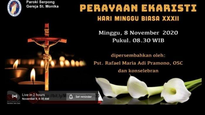 Jadwal Misa Biasa Minggu 8 November di Gereja Katolik dan Link Live Streaming di Youtube