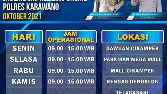 SIM KELILING Polres Karawang Kamis 14 Oktober 2021 di Rengas Dengklok Telagasari Hingga Pukul 15.00