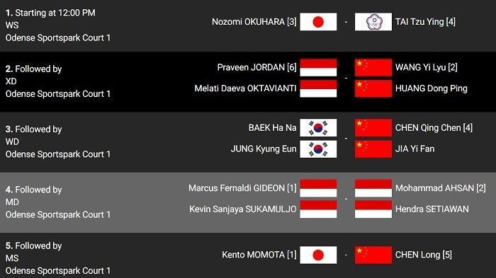 JADWAL Lengkap Final Denmark Open 2019, Pemain Indonesia Main di Pertandingan Kedua dan Keempat