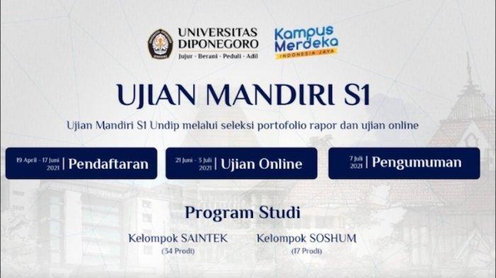 Jadwal Pendaftaran dan Ujian Mandiri 2021 Universitas Diponegoro Serta Daya Tampung