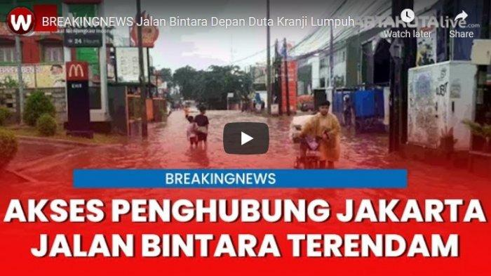 VIDEO BANJIR di Akses Penghubung Jakarta-Bekasi, Jalan Bintara Terendam Air 60 Sentimeter