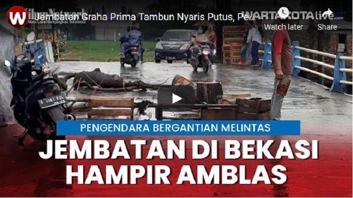 VIDEO Jembatan Graha Prima Tambun Nyaris Amblas, Pemkab Bekasi Diminta Segera Perbaiki
