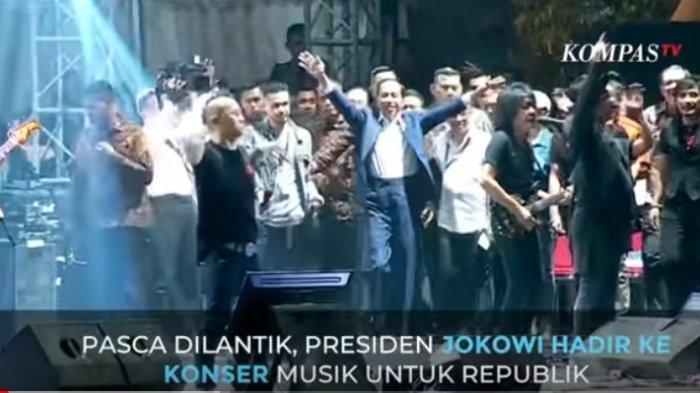 Detik-detik Kejutan Jokowi Hadiri Konser Musik untuk Republik, Naik Panggung, Lambaikan Dua Tangan
