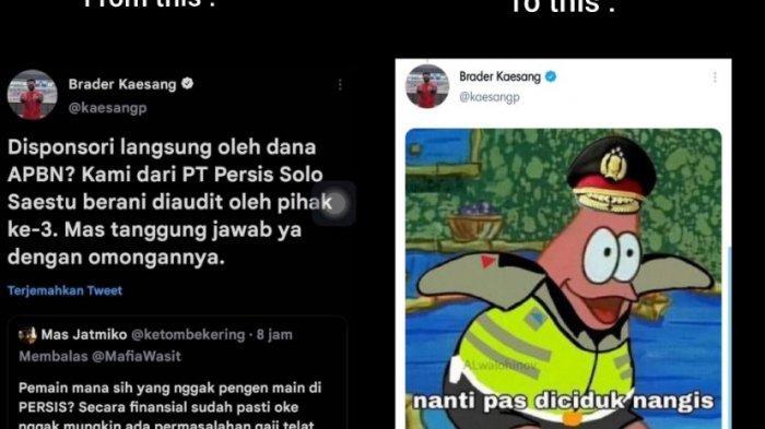 Twitter Kaesang Pangarep yang menjawab tudingan Persis Solo dibiayai APBN. Plus meme Patrick kenakan seragam polisi. Cuitan dan gambar ini membuat #KaesangNorak muncul dan jadi trending.