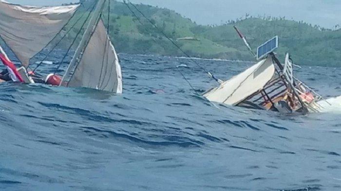 VIDEO Detik-detik Kapal Phinisi yang Bawa Rombongan Wartawan Terbalik di Labuan Bajo