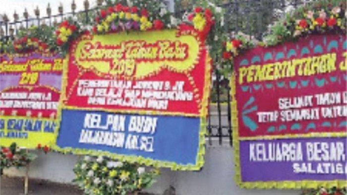 Karangan Bunga untuk  Jokowi-Jusuf Kalla di Istana Negara