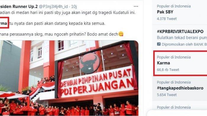 Karma menjadi trending topic terkait SBY yang mengaku menyesal telah memilih menjadi Panglima TNI. Moeldoko sendiri terpilih menjadi Ketum Partai Demokrat versi KLB Deliserdang. SBY kena karma karena dianggap telah mengkhianati Megawati dan Gus DUr.
