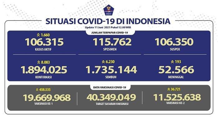 UPDATE Covid-19 di Indonesia 11 Juni 2021: 8.083 Pasien Baru, 6.230 Sembuh, 193 Orang Meninggal
