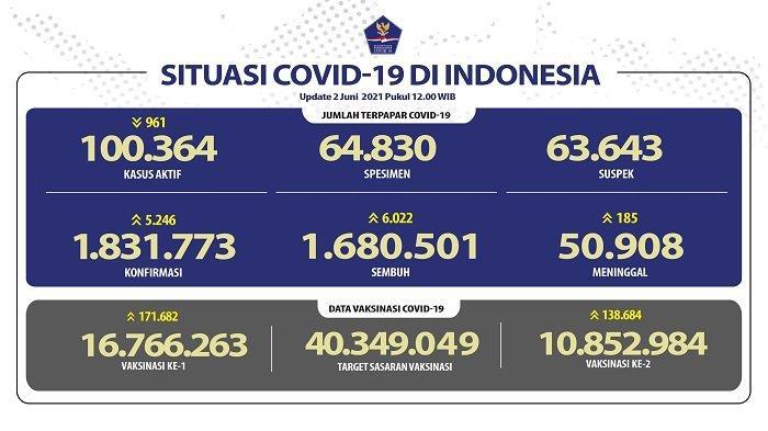 UPDATE Covid-19 di Indonesia 2 Juni 2021: Pasien Baru Tambah 5.246, Sembuh 6.022 Orang, 185 Wafat