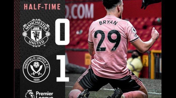 Pemain Sheffeield United Kean Bryan rayakan gol ke gawang Manchester United. MU Kalah 0-1 di babak pertama.