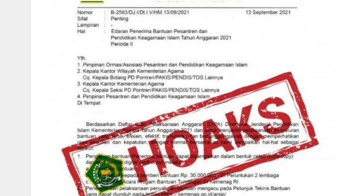 BEREDAR Surat Edaran Penerima Bantuan Pesantren, Kementerian Agama Pastikan Itu Hoaks