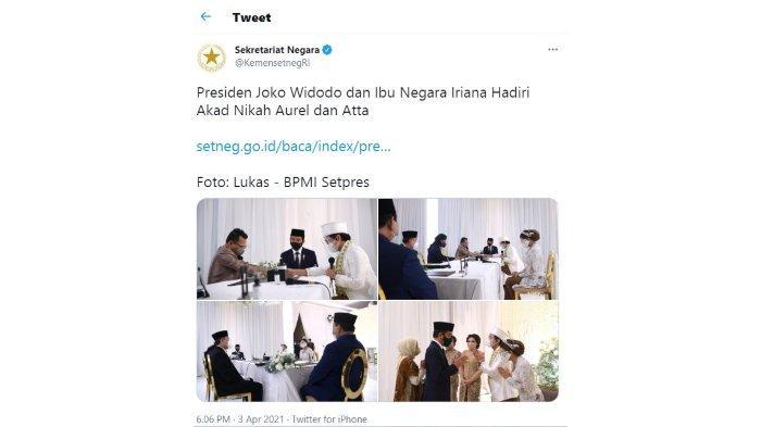 Sekretariat Negara Unggah Foto Nikahan Atta-Aurel Dibanjiri Kritik, 'Apa Urusannya Sama Negara?'