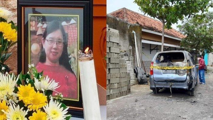 Mendiang Lia semasa hidup, dan foto mobilnya yang hangus terbakar.